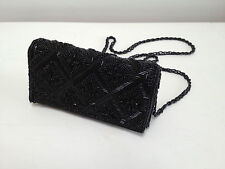 Vintage 80s black beaded evening /wedding  bag with strap