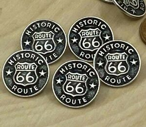 """Route 66 Metal Buttons Historic Highway 66 Qty 4 to 24 Antique Silver 5/8"""" 15mm"""