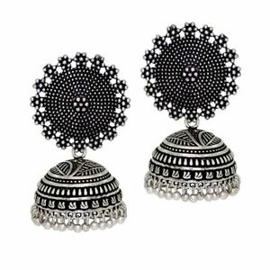 women's traditional silver plated oxidised jhumki earrings