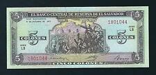 F.C. EL SALVADOR , 5 COLONES 1977 , S/C ( UNC ) , P.126a .