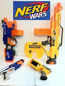 🔥Nerf Gun Blaster Lot Of 4 Stampede ECS 18 Hyperfire Elite Blue vs Yellow War!