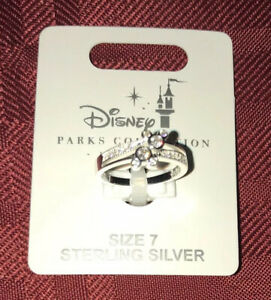 Disney Parks Mickey Mouse Double Icon Swarovski Ring Sterling Silver Sz 7 NEW