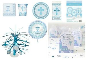 Boys 1st First Holy Communion Party Tableware Decorations Royal Blue collection
