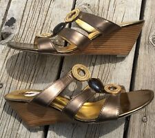 A.N.A A New Approach Metallic Leather Sandals Slip On Wedges Size 9 M Women's