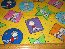 1 yard of PROJECT LINUS with BLANKET with STARS on YELLOW 100% Cotton Fabric