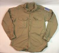 Vintage 50's US ARMY MILITARY KHAKI Uniform SHIRT w/ Patches Shade No 1 Large