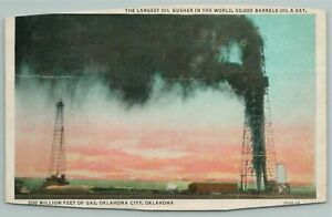 Oklahoma City Oklahoma~Largest Oil Gusher In World~1940s Linen Postcard