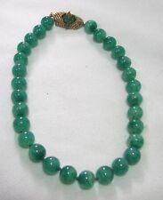 Vintage Joseph Mazer Peking Glass Faux Jade Choker Necklace Hand Knotted