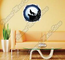 "Wolf Full Moon Light Night Scary Wall Sticker Room Interior Decor 22""X22"""
