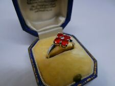 A Gorgeous Ladies 9ct Gold Mexican Fire Opal Cluster Dress Ring Size N 1/2, 2.2g