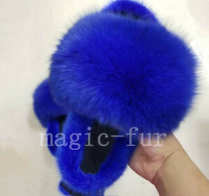 2020 Real Fox Fur and Mink Fur Sandals Fur Slides Slippers Indoor Outdoot Shoes