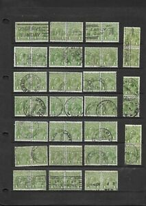 Stamps Australia Bulk KGV 1d Green Heads Pairs x 24 Good Used/Fine Used (48)