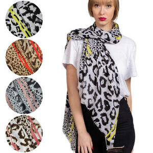 NEW Women Leopard Animal Print Soft Cotton Scarf Wrap Large UK