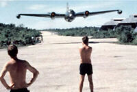 A B-57 bomber making a low pass over US base in Vietnam War Photo 4x6 inch N
