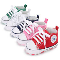 Newborn Baby Boy Girl Crib Shoes Toddler Pre Walker Sneakers Size 0-6 6-12 12-18