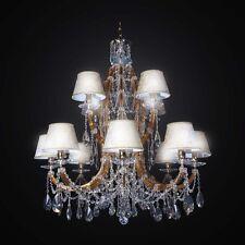 LAMPADARIO IN CRISTALLO CLASSICO ORO 12 LUCI BGA 2434-12 DESIGN SWAROVSKY