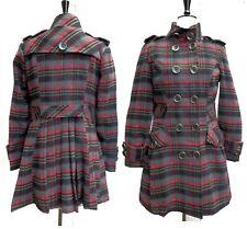 Red Grey & Black Plaid Pleat Detail Coat SIZE 18