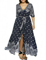 Plus Size Womens Long Hippie Boho Print Flowy Beach Wrap Maxi Dress Sundress