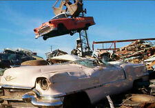 1950s Scrap Auto Salvage Yard a 55 Chevy carried by crane  4 x 6  Photograph