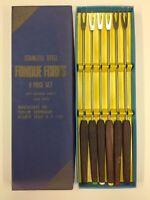 Vintage Puralum 6 Fondue Forks Cutlers International Rosewood & Stainless Steel