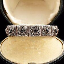 Antique Vintage Art Deco Sterling Silver Black Onyx & Marcasite Tennis Bracelet