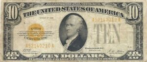 1928 $10 GOLD CERTIFICATE ~ VERY ATTRACTIVE COLLECTOR GRADE NOTE PROBLEM-FREE