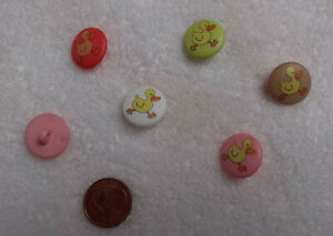 Kinderknöpfe rund mit gedruckter Ente mit Öse 15mm