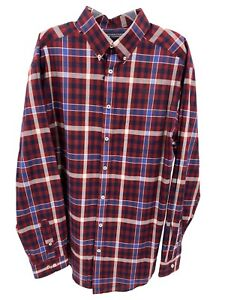 Men's Dress Shirt Size 2XB Big Red Blue Plaid Button Up Top Roundtree Yorke New