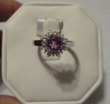 Amethyst & White Topaz Sterling Silver Ring Size 7 1.55ct Genuine Stones Purple