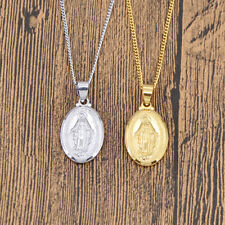 Catholic Virgin Mary Pendant Necklace Silver Gold Chain Amulet Jewellery Gifts