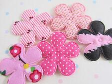 50 Padded Pink Fabric 5 Design Flower Applique Mix/Craft/doll/trim/floral H60