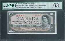 "CANADA, Bank of Canada $100 1954 BC-35a ""Devils Face"" PMG 63 Choice Unc"