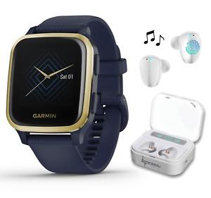 Garmin Venu Sq Music GPS Fitness Smartwatch Navy/Light Gold with White EarBuds