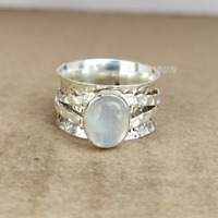 Moonstone 925 Sterling Silver Spinner Meditation Statement Ring, Size- 5.5  A12
