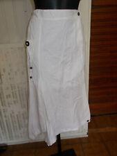 Jupe longue coton blanc BLANC DU NIL T.5 46/48 logo brodé destructuré
