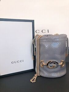 NWT 100% Authentic GUCCI Mini Zumi Python Bucket Shoulder Crossbody Bag
