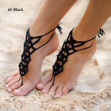 handmade cotton knitted anklet black Bracelet anklet cotton decoration feet