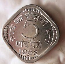 1968 (b) INDIA 5 PAISE - KEY DATE - AU/UNC - FREE SHIP WORLDWIDE - HV21