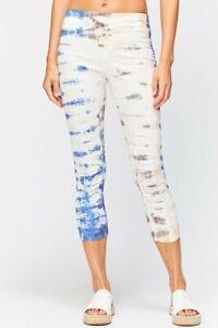 """NWT $79 XCVI WEARABLES """"Jetter"""" Tie Dye Crop Leggings Pants in Gemstone sz.L"""