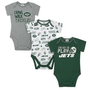 New York Jets NFL Infant Boys' 3-Pack Short-Sleeve Bodysuits 6-12 Months NWT