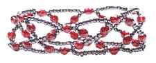 Deep Red Crystal Gun Metal Bead Cross/one Size Fits All Bracelet(Zx59/148)