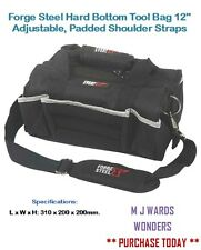 "Forge Steel Hard Bottom Tool Bag 12"" Adjustable, Padded Shoulder Straps"