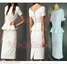 Womens Wear Work Celebrity Peplum Stretch Metal Zip Solid Shift Pencil Dress XL