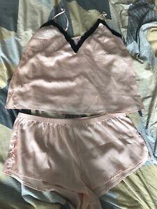 Ann Summers Peach Blush Silk Cami Short Set Size 16 18 L Large