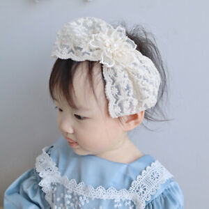 Style Lace Big Bows White Mesh Hair Bands Hair Hoop Baby Headband Headwrap
