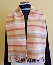 VTG Altea Milano Unisex Wool Light Pink Multi Stripes Oblong with Fringes Scarf