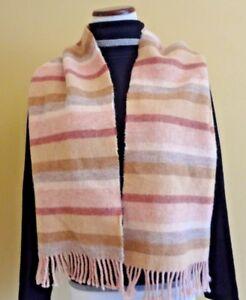 VTG Altea Milano Unisex Wool Light Pink Multi Stripes Oblong with Fringes Scarf