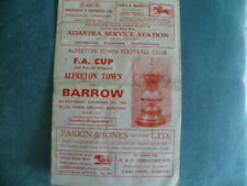 Alfreton Town v Barrow 15th Nov 1969 FA.Cup (Non League FA.Cup)