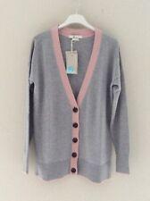 Designer BODEN Oversized Grey/Pink Wool/Cotton Boyfriend Cardigan XS BNWT RRP£70