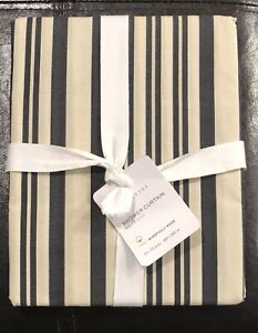 NEW Pottery Barn Shower Curtain Antique Stripe Dark Gray Ivory Organic Cotton
